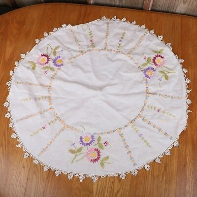 Vintage Round embroidered Needlepoint Tablecloth Flowers