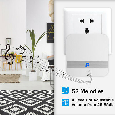 Wireless Door Bell Plug in Cordless Doorbell Loud Chime LED Flash 52 Chimes WWG