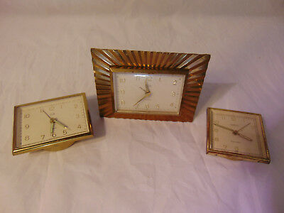 Lot Three Vintage Alarm Clocks Elgin Gold Starburst & Herbury Traveller 7 Jewels