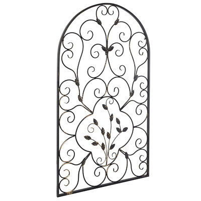 Arched Wrought Iron Wall Art Sculpture Vintage Tuscan Indoor Garden Gate Decor