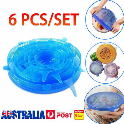 6PCS Stretch Reusable Silicone Bowl Wraps Food Saver Cover Seal Insta Lids CG