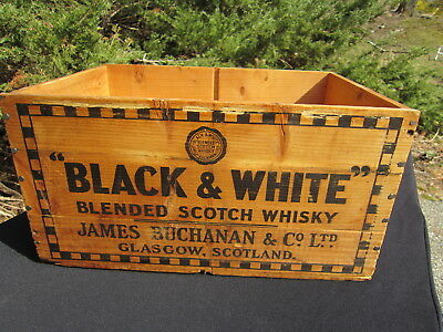 """Vintage 1955 Wooden """"Black and White"""" Blended Scotch """"Whisky"""" Crate"""