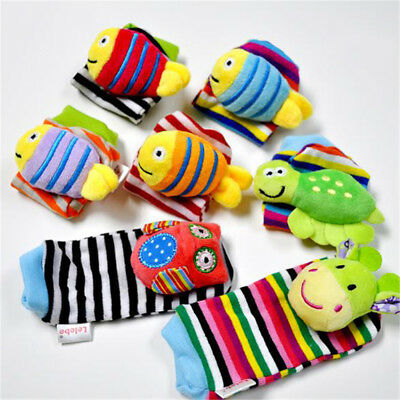 New Rattle Set Baby Sensory Toy Socks and Wrist Rattles Bracelet Toys Animals KL