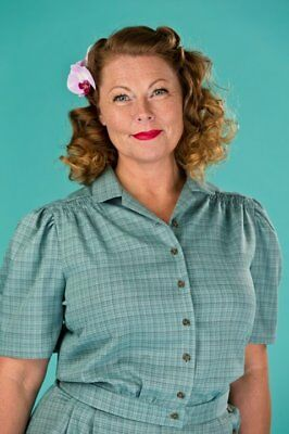Emmy Design Sweden 1940s Hepcat Holiday Blouse BNWT size xs vintage pinup