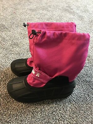 f80106ad2 GIRL'S NORTH FACE Waterproof Brown Pink Laces Winter Snow Boots ...