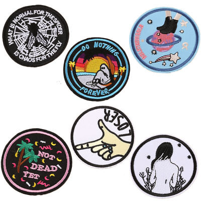 Motto Patch Applique Embroidered Round Patches Lot Sew on Badge