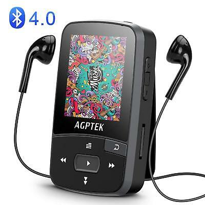 AGPTEK Bluetooth MP3 Player Clip 16GB Supports Playlist FM Radio&Voice Recording