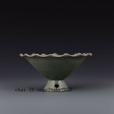 "7"" China antique Porcelain Song ru kiln Celadon Glaze fancy top High foot bowl"