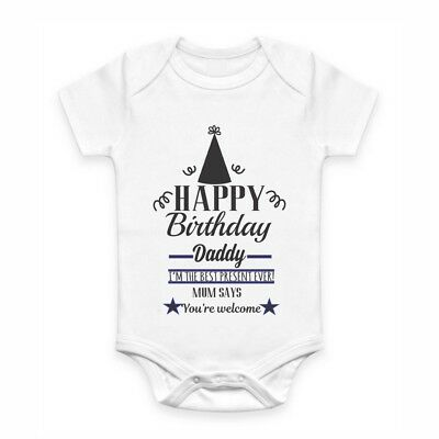 Cute Baby Clothes - Romper with print - Happy Birthday Daddy