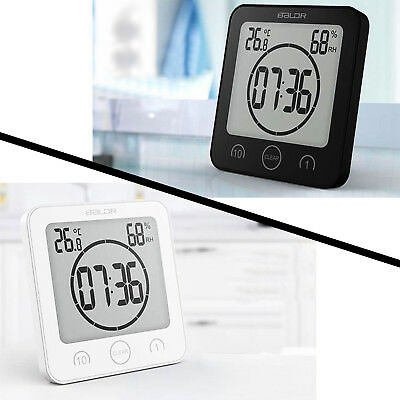 Waterproof Digital Shower Clock Alarm Timer Temperature Meter Humidity Bathroom