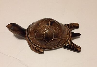 Hand Carved Wood Wooden Sea Turtle Figurine FREE SHIPPING