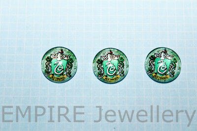 2 x Harry Potter Slytherin Badge 12x12mm Glass Cabochons Cameo Dome Hogwarts