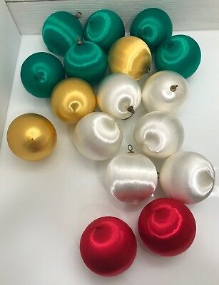 Vintage Satin Covered Solid Color Christmas Ornaments Lot of 17