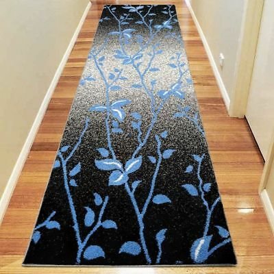 Hallway Rug Hall Runner Modern Contemporary Mat Floor Carpet Black 2 Sizes 1589