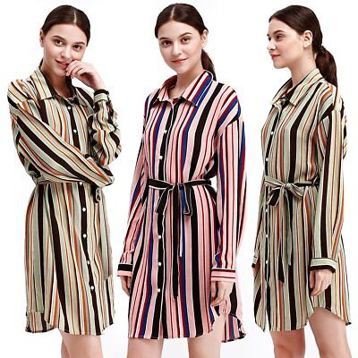 Women Striped Print Button Down Waistband Long Sleeve Turn-Down Collar Dress