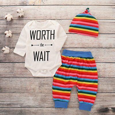 Cute Baby Letter Print Cotton Long Sleeve Romper+Rainbow Pants + Hat Outfit Sets