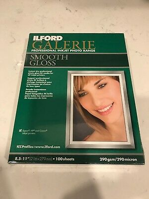 """Ilford Galerie Inkjet Smooth Gloss 8.5x11"""" - 100 Sheets - SEALED - 290 gsm"""
