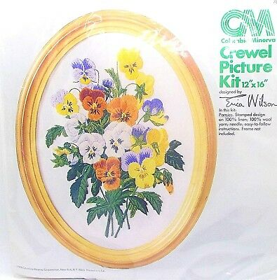 Pansies Crewel Oval Picture Kit Embroidery Erica Wilson Columbia Minerva 12x16
