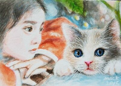 NEW DESIGN Original ACEO Acrylic Painting Art Girl Cat Kitten Women Card