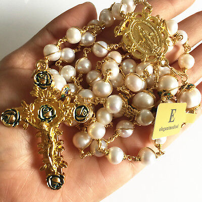 Gold Wire Wrap Beads AAA+ White Real Pearl Catholic Rosary Necklace Cross Box