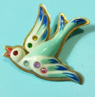 Vintage Antique FRENCH CELLULOID on BRASS Flying BIRD 20's RHINESTONE Pin BROOCH