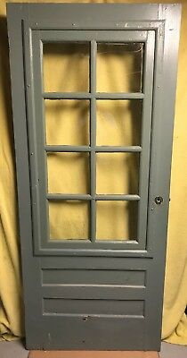 Antique Exterior Wood Screen / Storm French Door 34x79 Removable 8 Glass Panes