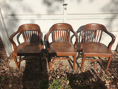 Antique solid Walnut Bankers Chairs  High Point Bending & Chair CO.