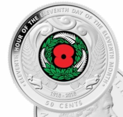 New Zealand Unc 2018 Armistice Commemorative 50c cent coin in holder.
