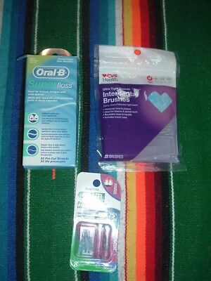 Oral-B Super Dental Floss-Mint 50 Pre-Cut Strands, Cvs Interdental Brushes & Gum