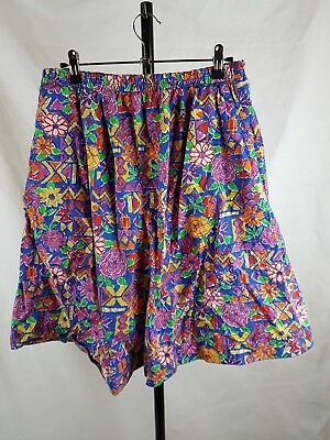 Great Expectations 12 Vintage Cotton Culottes Shorts 80s Bright Print Festival