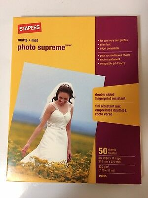 """🌟Staples Photo Supreme Paper 8 1/2"""" x 11"""" Double Sided Matte 50 Sheet Pack"""