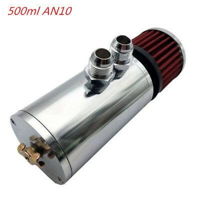Aluminum 500ml AN10 Baffled Oil Catch Can Reservoir Tank With Breather Filter SL