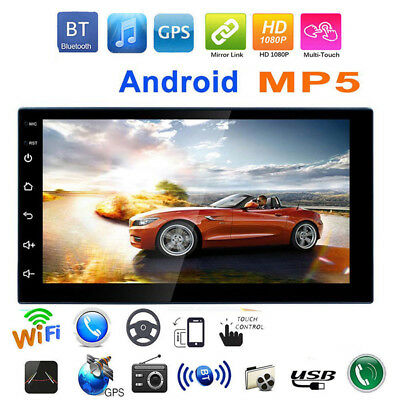 7in Android 8.1 WiFi 2Din HD Quad Core GPS Navi Car Stereo MP5 Player FM Radio
