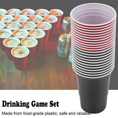 Beer Pong Drinking Game Set - 11 Red Cups + 11 Blue/Black Cups 4 Ping Pong Balls