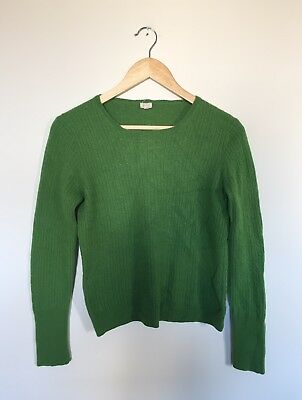 J Crew Womens Green Cable Knit Crewneck Sweater Pullover Long Sleeve