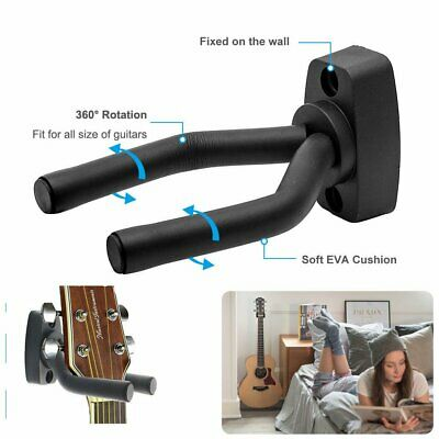 Black Losts Guitar Wall Mount Holder Bracket Hanger For Violin Hook Display Bass