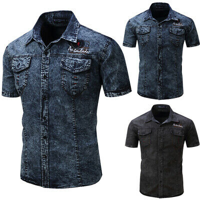 Mens Short Sleeve Denim Shirt Retro Cargo Military Casual Blouse Tops Size S-2XL