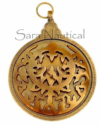 18'' Large Antique Brass Astrolabe Arabic Globe Navigation Astrologi CalCalendar