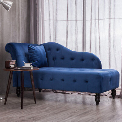 Vintage Chaise Longue Tuffed/Stud Lounge Day bed Sofa Queen Armchair Seat Pillow