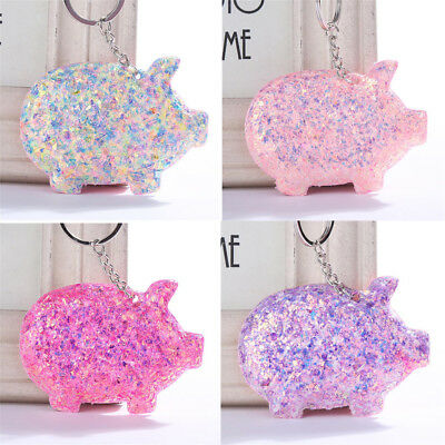 Trendy Cute Pig Key Ring Sequins Glitter Keychain Gifts Women Bag Car Access~