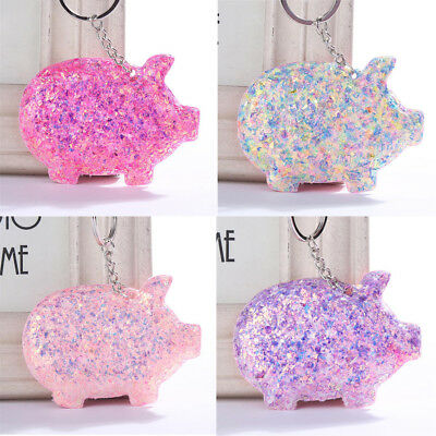 Trendy Cute Pig Key Ring Sequins Glitter Keychain Gifts Women Bag Car Access-