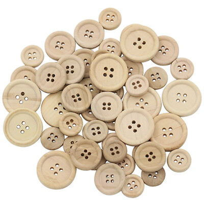 50 Pcs Scrapbooking Natural Color 4-Holes Mixed Sewing DIY Wooden Buttons Round