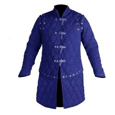 Beautiful Thick Blue Gambeson Medieval Padded Full Sleeve Armor Reenactment Larp