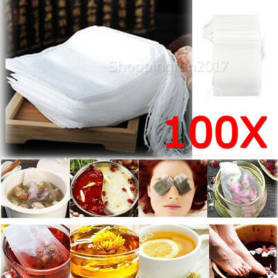 100X Empty tea bag Heat sealing filter paper clean Loose bags String Teabag Herb
