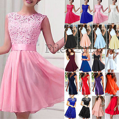 Women Lace Skater Swing Dress Cocktail Evening Party Pleated Short Mini Sundress