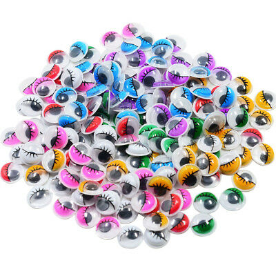 168x Colorful Sticky Self-adhesive Googly Eyes with Eyelash for Scrapbooking