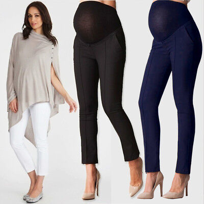 Maternity Pregnant Women Capris Casual Trousers Work Office Over Bump Pants Wear