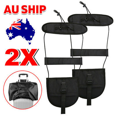 2x Add A Bag Strap Travel Luggage Suitcase Belt Carry On Bungee Adjustable TW