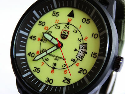 LUMINOUS Aviator 45mm Pilot's Military Army Sports Date Green Canvas Strap Watch