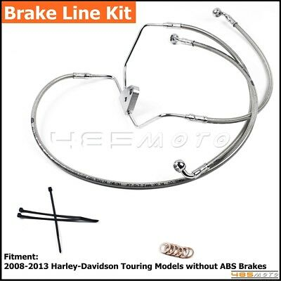 "Silver Motorcycle Stainless Steel Front +8"" Brake Line Kit For H-D Touring 08-13"